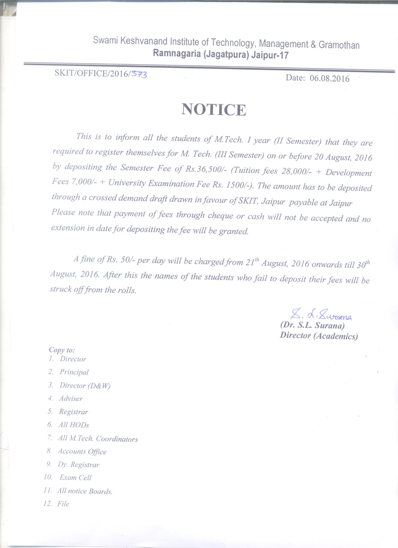 Fee Notice M. Tech. III Sem 2016 17